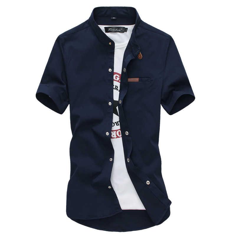 2019 夏カジュアル男性の半袖シャツアジアサイズ S-5XL 青白黒緑カーキ赤スリムフィット男性シャツ