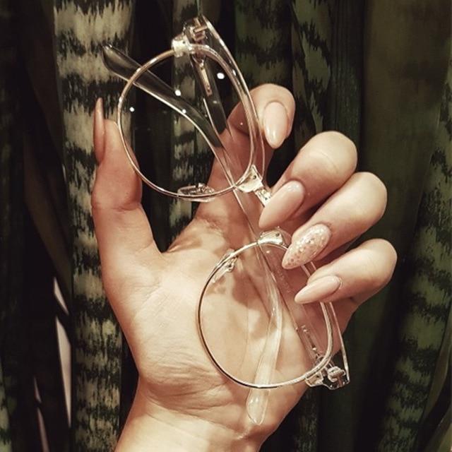 2019 Half Metal Women Glasses Frame Men Eyeglasses Frame Vintage SquareClear Glasses Optical Spectacle Frame Spectacles
