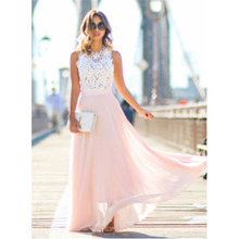 2019 Hot Sell Women Sexy Vestidos Party Dresses Nude Pink Beach Summer Boho Maxi Long Hollow Out Patchwork Sundress plus size