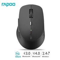 Nova Rapoo M300 Multi-modo Silencioso Mouse com 1600 DPI Sem Fio Bluetooth 3.0/4.0 RF 2.4 GHz para três Dispositivos de Conexão/Menina Camundongos