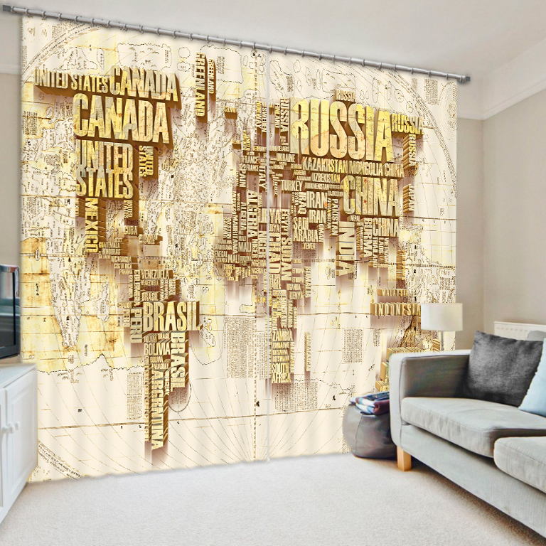 World Map Curtain Fabric 3D Curtains for Living Room Sunshade Window Curtains
