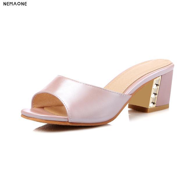 46b27e3277cdb Large Size 34-43 Women Sandals High Heels Ladies Sandals Open Toe Party Shoes  Summer Slippers Women Slides