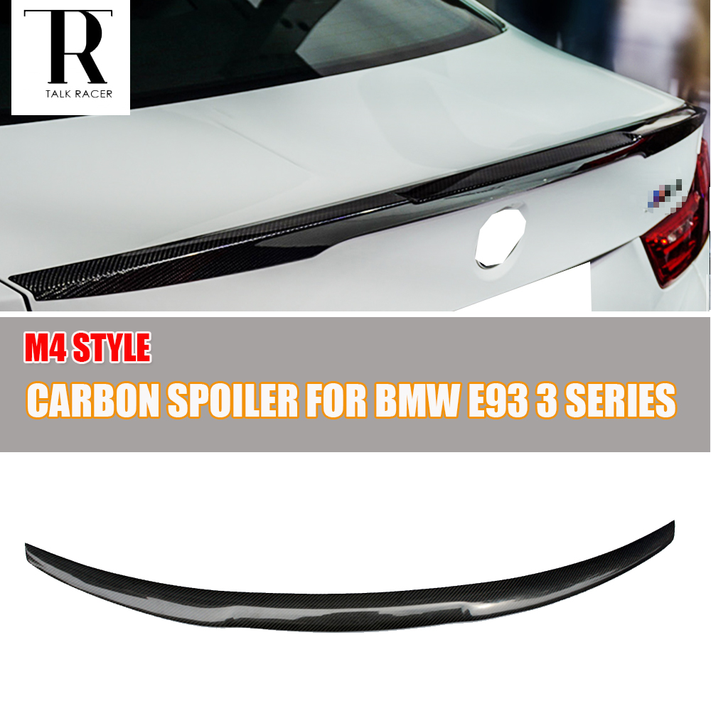 M4 Style E93 Carbon Fiber Rear Wing Spoiler for BMW E93 Convertible 3 Series 2005 - 2011 Racing Car Styling Tail Trunk Lip Wing 3 serier carbon fiber rear diffuser spoiler for bmw e92 e93 m sport coupe convertible 2005 2011 335i grey frp new style