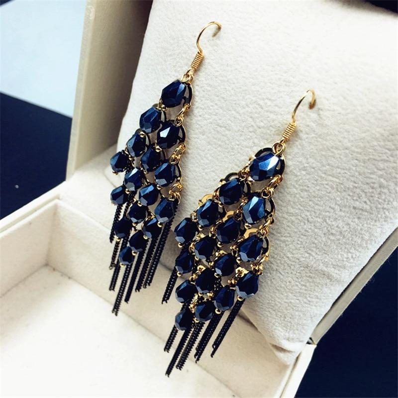 Vintage Bohemia Kristal Rumbai Anting Panjang Untuk Wanita Bijoux Pernyataan Handmade Telinga Fashion Jewelry Warna Hitam Hijau