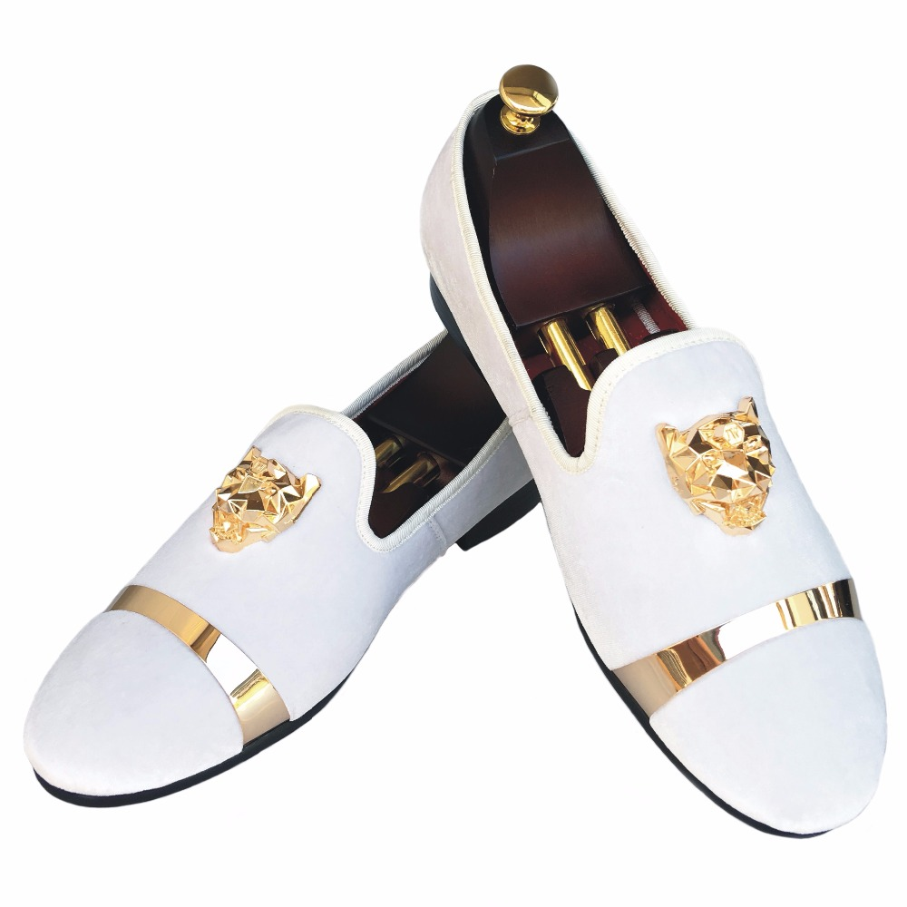 New Handmade Men Velvet Loafers Shoes White Slippers with Gold Buckle Wedding and Party Dress Shoes Red Bottom Flats Size 7-13 men loafers paint and rivet design simple eye catching is your good choice in party time wedding and party shoes men flats