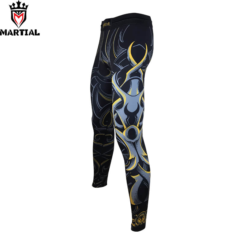 Martial : Aries printed boxing trunk bjj spats mma clothing yoga  compression pants men sport trousers sports workout tights