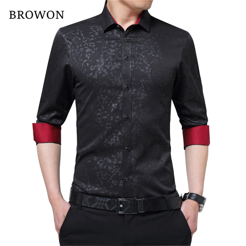 BROWON Newest Plus Size Male Social Shirt Long Sleeved Non-iron Men Flower Shirt Men's Shirt Business Imported-china