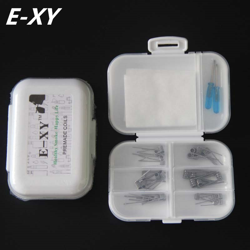 E-XY 8 in 1 Premade Coil Box Kit Tank track Clapton Regular Twist Clapton Juggernaut Prebuilt Wires Cottons Screwdriver for RDA