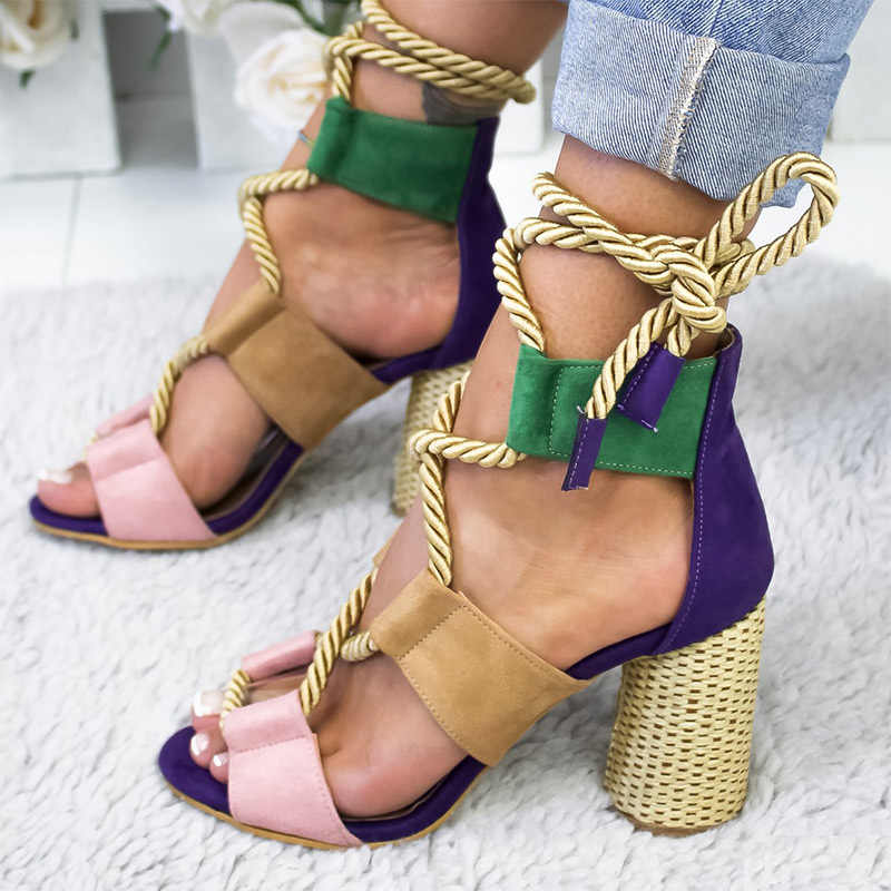 Sandalen Vrouwen Zomer Hoge Hakken Dames Gladiator Sandalen Vrouwelijke Kruis Lace Up Pompen Mode Casual Schoenen Sandales Femme 2019