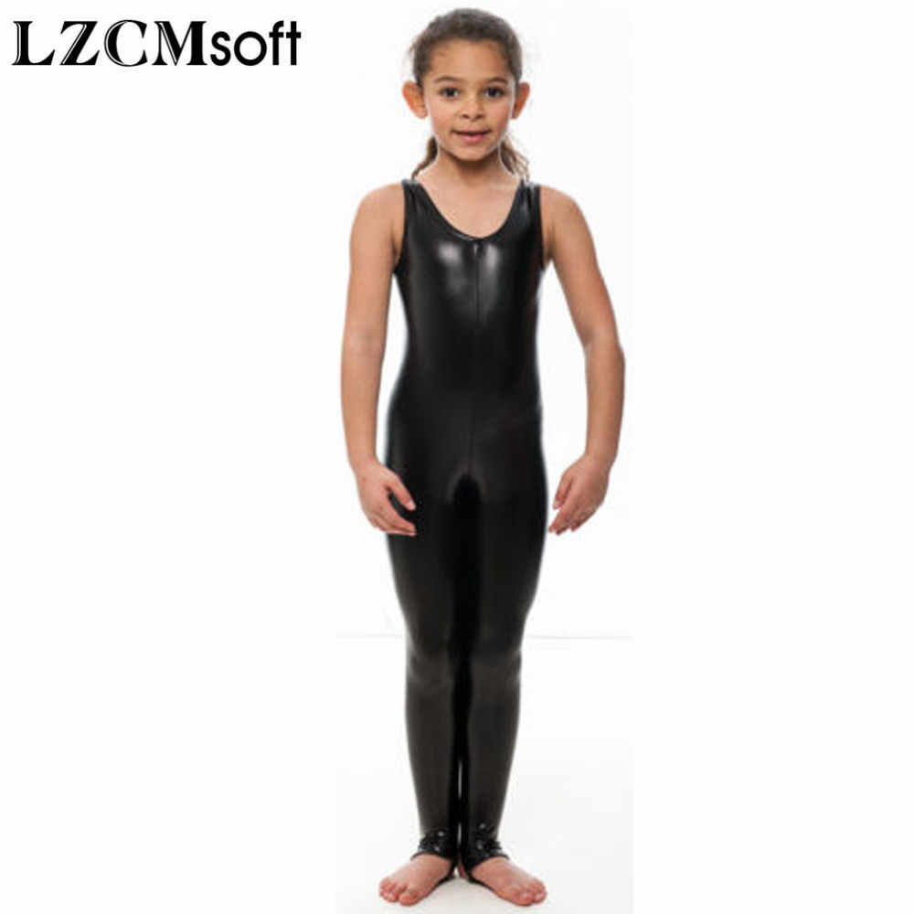 19ccf7c2aaa1 ... LZCMsoft Child Shiny Metallic Silver Sleeveless Gymnastics Unitards  Bodysuit With Stirrup Stage Performance Dancewear For Girls ...