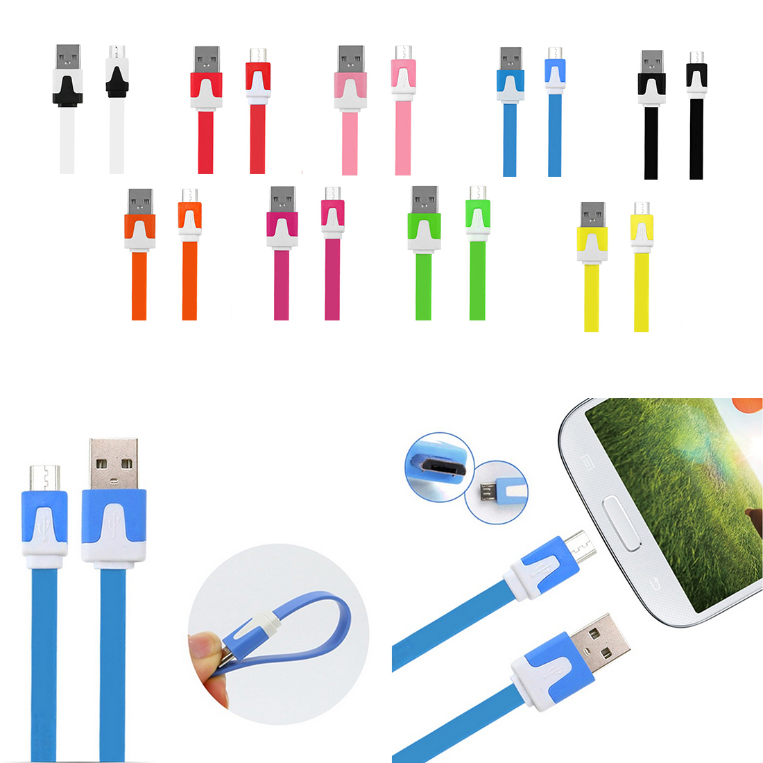 Dewtreetali 3M Noodle Flat Wire Android Charger Sync Data Micro USB Charging Cable For Samsung Xiaomi Huawei Phone Accessories