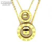 New Style Double Loop String Titanium Cz Diamond Rose Gold Rome Necklace Pendant Chain Clavicle Brand