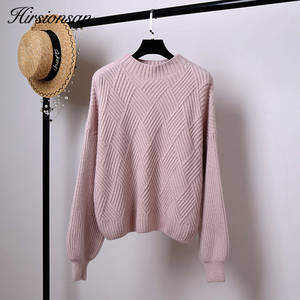 Hirsionsan Winter Knitted Cashmere Sweater Women Pullovers