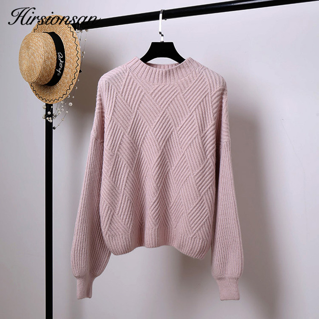 Hirsionsan Pull Femme 2018 Winter Autumn Oversized Knitted Cashmere Sweater  Women Lantern Sleeve Diamond Basic Thicken Pullovers 3147887f9