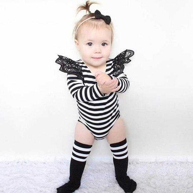 Bebê recém-nascido Roupas Black White Striped Manga Comprida Macacão Lace Puff Luva Sweety Projeto Macacão de Bebê Meninas Roupas