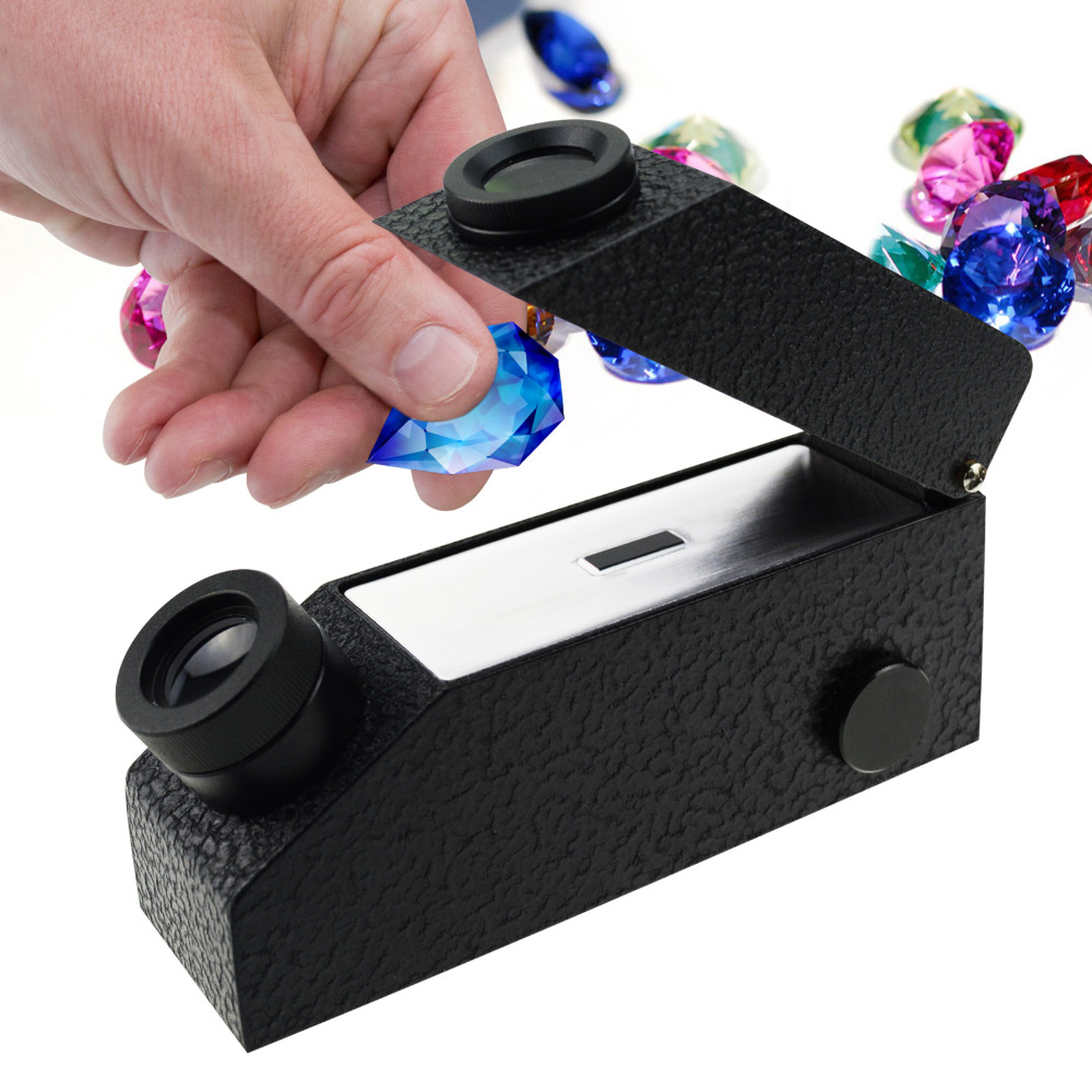 Gem Gemological Gemelogy Refractometer with Built-in LED Light + RI Oil + 1.30 - 1.81 RI Range + 0.01 nD Scale Division ...