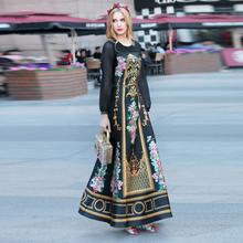 High Quality 2017 Spring Maxi Dress Women's Long Sleeve Flower Floral Printed Vintage Long Dress