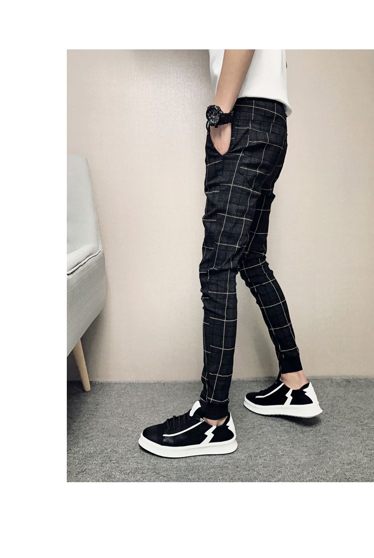 New Pants Men Slim Fit British Plaid Mens Pants Fashion High Quality 2020 Summer Casual Young Man Hip Hop Trousers Male Hot Sale 19
