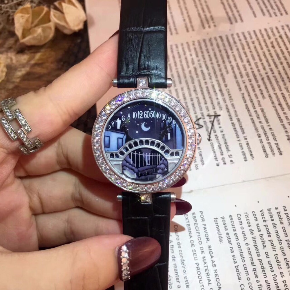 Brand Genuine Leather Watch Lover;s Bridge lady cow leather Starry Sky Day and Night Women lover Watch Blue Dial Watches