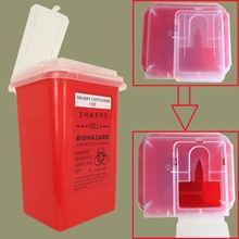Red Tattoo Medical Plastic Sharps Container Biohazard Needle Disposal 1 Qt Size For Tattoo Artists