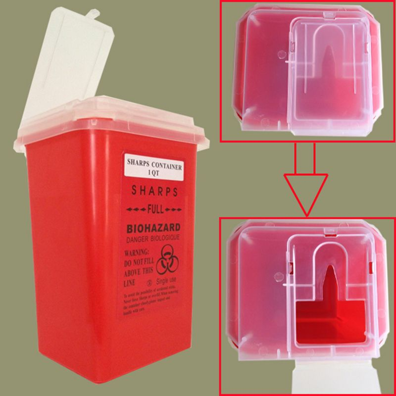 Yuelong Newest  Red Tattoo Sharps Container Biohazard Needle Disposal 1 Qt Size supply Free shipping