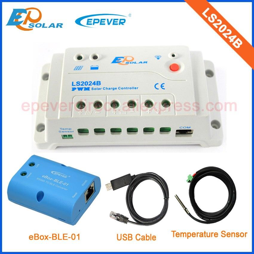 EPEVER LS2024B USB cable+temperature sensor 20A 20amp 12v 24v auto wotk with BLE function box solar regulators ls mr1 sensor mr li