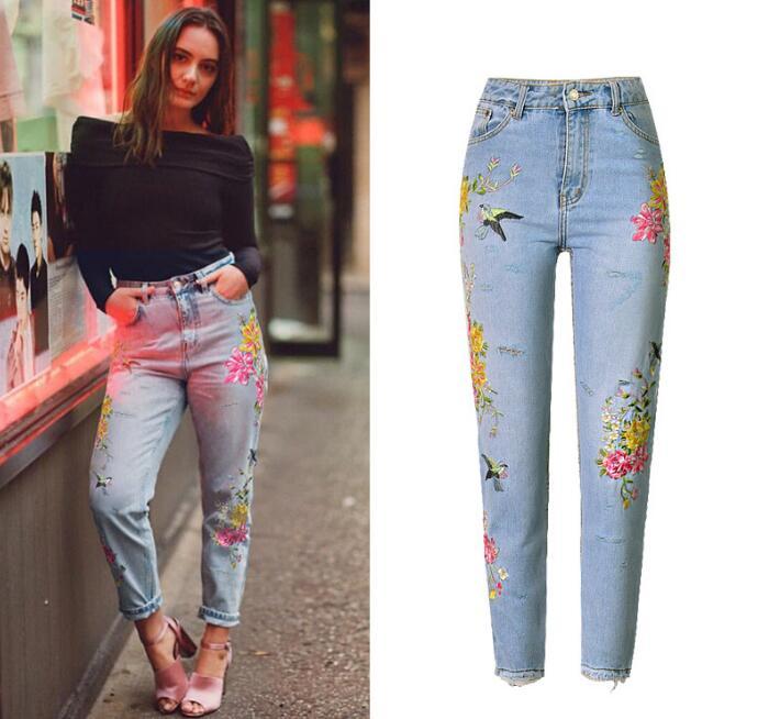 Qualité De Haute Trou Taille Américain Jeans Droit Femmes As Denim Picture Chic Brodés Pantalon Et Supérieure Show Mode Européen qWCPnREzz