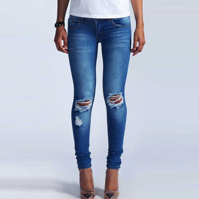 f317340114d8 Witsources Pencil Jeans Women Low Waist Pencil Skinny Jeans with Ripped  Holes & Sandblast Indigo Blue