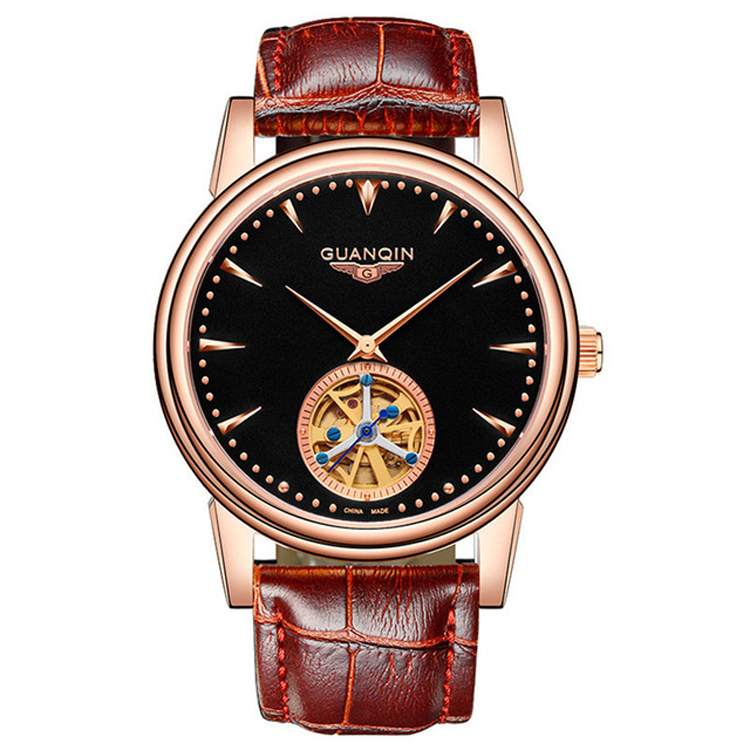 Mens Watches Top Brand Luxury GUANQIN 2018 Men Watch Sport Tourbillon Automatic Mechanical Leather Wristwatch GJ16048 mens watches top brand luxury holuns 2017 men watch sport tourbillon automatic mechanical stainless steel wristwatch relogio mas