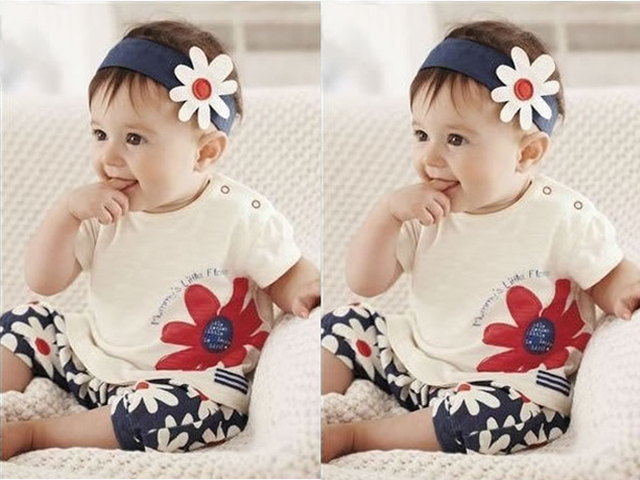 2015 free shippingBaby Girls Kids T Shirt Headband Top Pants Shorts Flower 3pcs Outfit Clothes