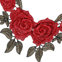 5PCS Rose Embroidered Iron on Patches for Clothing DIY Stripes Clothes Patchwork Sticker Custom Flowers Applique