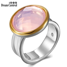 DreamCarnival 1989 Top Quality Brand Women Silver Color Rings Cushion Cut Pink Zircon Wedding Party Must Have Jewlery  WA11709