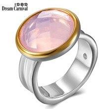 Dreamcarnaval 1989 Top qualité marque femmes deux tons couleur anneaux coussin coupe rose Zircon fête de mariage doit avoir bijoux WA11709