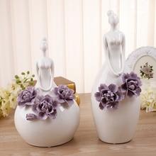 Creative ceramic young girls lady figurines home decor crafts room decoration handicraft ornament porcelain wedding