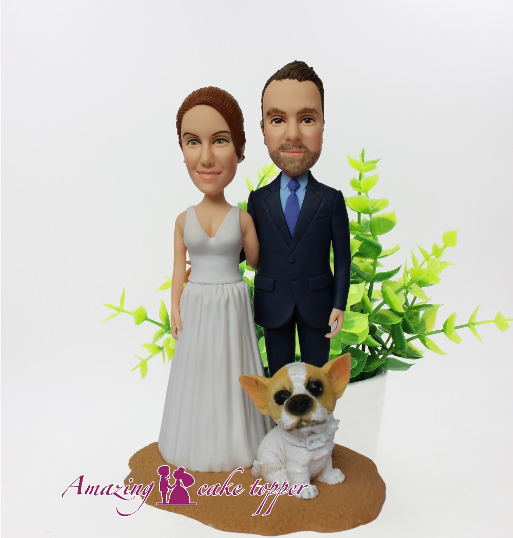 2019 AMAZING CAKE TOPPER Toys Cute pet dog accompanying newlyweds And Groom Gifts Ideas Customized Figurine Valentine's Day