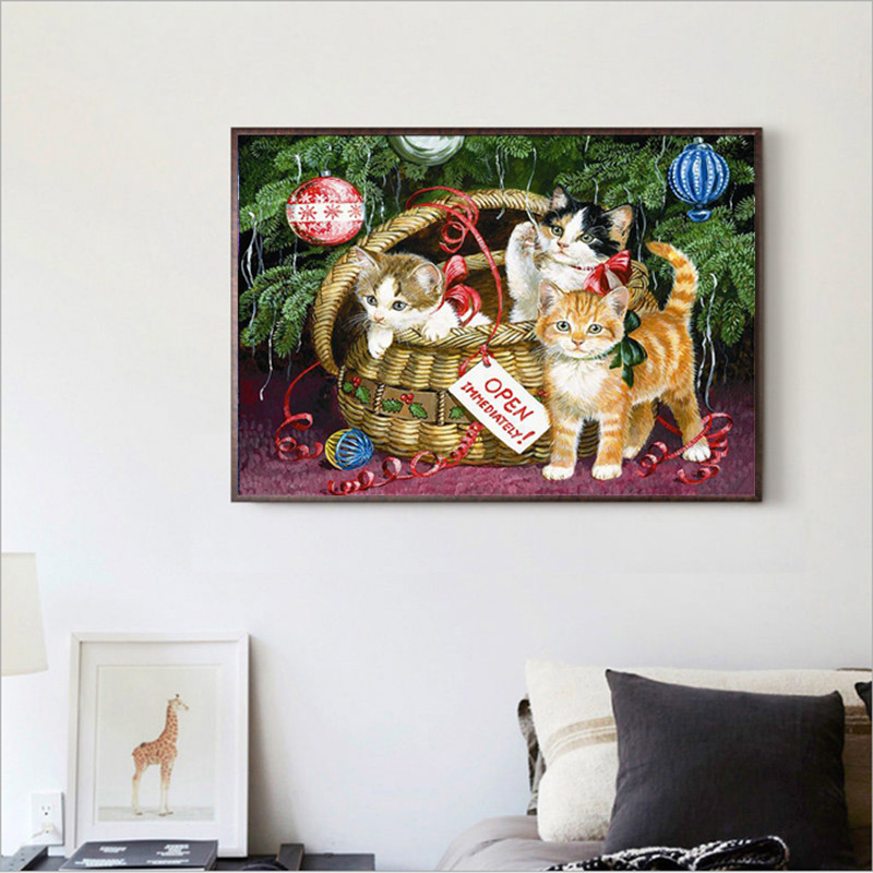 Part of the round diamond 5D DIY diamond painting quot cat quot 3D embroidery cross stitch 5D rhinestone home decoration gift in Diamond Painting Cross Stitch from Home amp Garden