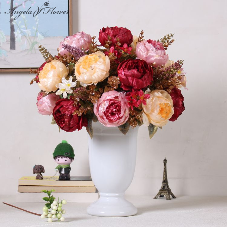 1 Bouquet Luxury Artificial Rose Gold Ornament Silk Peony