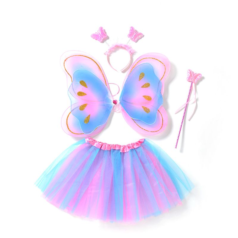 4Pcs Butterfly Wings Set Kids Girls Fairy Double Layers Tutu Skirt Wing Magic Wand Headband Cosplay Clothes Party Costume