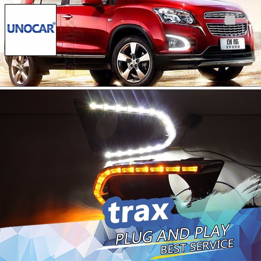 UNOCAR  LED DRL daytime running light for chevrolet trax 2014 2015 2016 top quality with yellow turn light function waterproof for volkswagen vw polo 2014 led drl daytime running light led fog lamp top quality with yellow turn indicator top quality