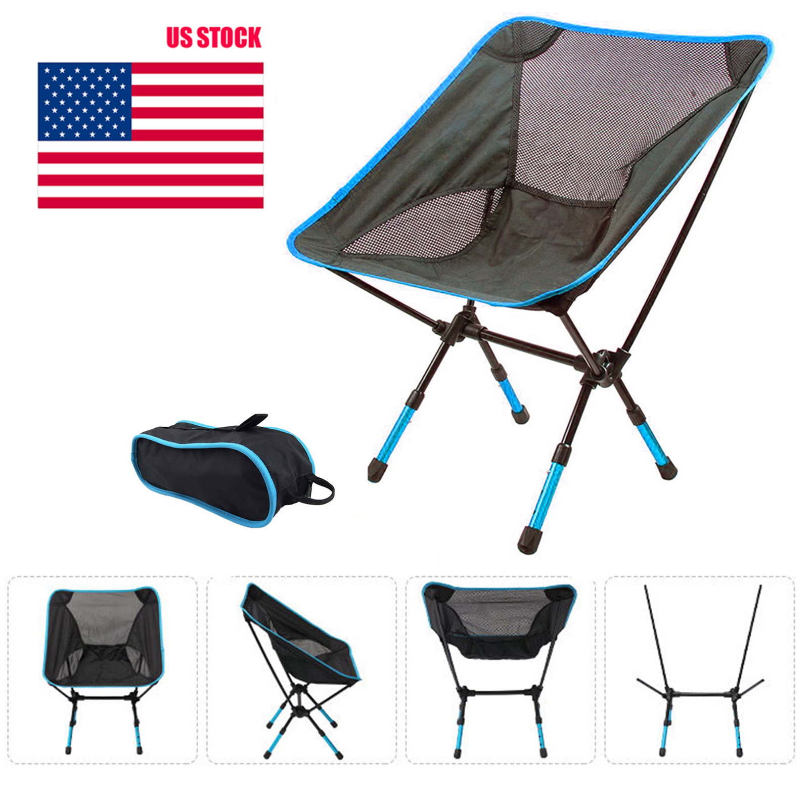 Adjustable Folding Chair Outdoor Camping Lightweight Portable Chair with Carry Bag for Picnic BBQ Beach Fishing Warehouse