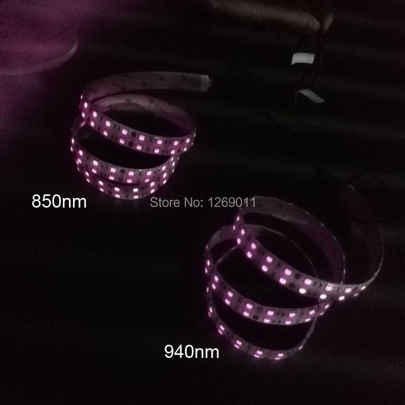 0,5 Meter DC12V SMD5050-600-IR Infrarot 850nm/940nm Tri-Chip Zweireihig Flexible LED Streifen 120 LEDs 28,8 W pro Meter