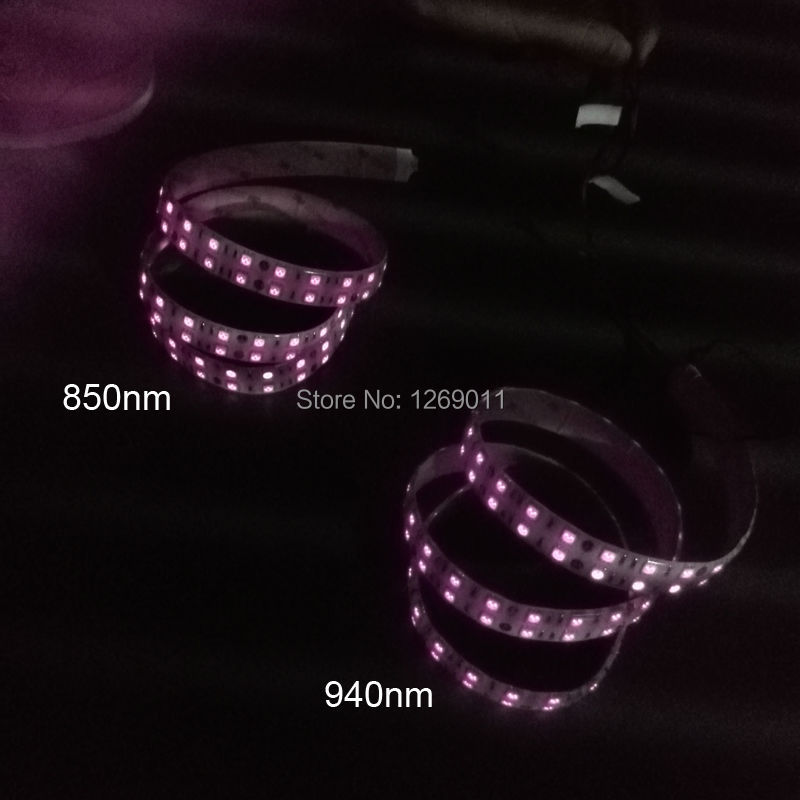 0.5Meters DC12V SMD5050-600-IR InfraRed 850nm / 940nm Tri-Chip Dubbel Row Flexibla LED Strips 120LEDs 28.8W Per Meter