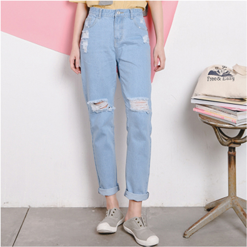 2017 Summer New Fashion Denim Ripped Hollow Out Harajuku Vintage Casual Loose Women High Waist Jeans Maxi Boyfriend Pants women jeans autumn new fashion high waisted boyfriend street style roll up bottom casual denim long pants sp2096