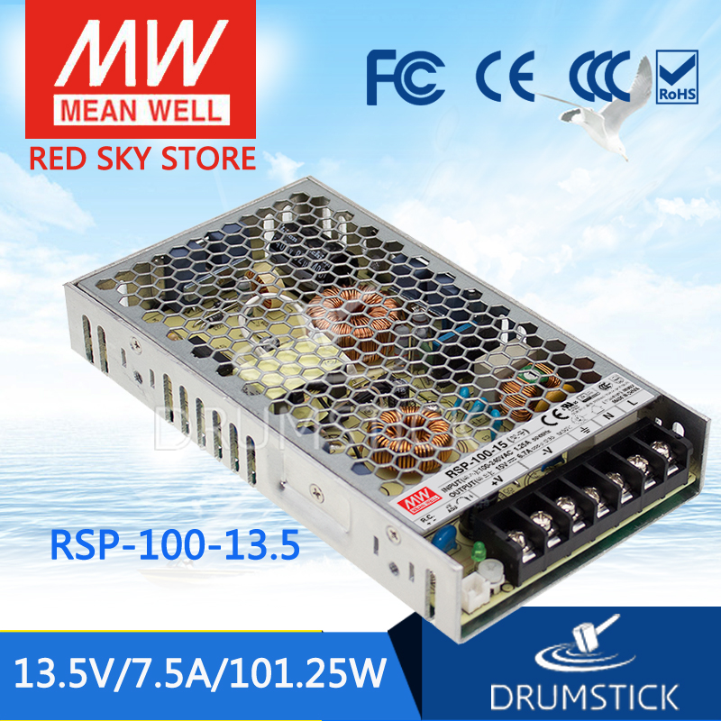 100% Original MEAN WELL RSP-100-13.5 13.5V 7.5A meanwell RSP-100 13.5V 101.25W with PFC Function Power Supply 100