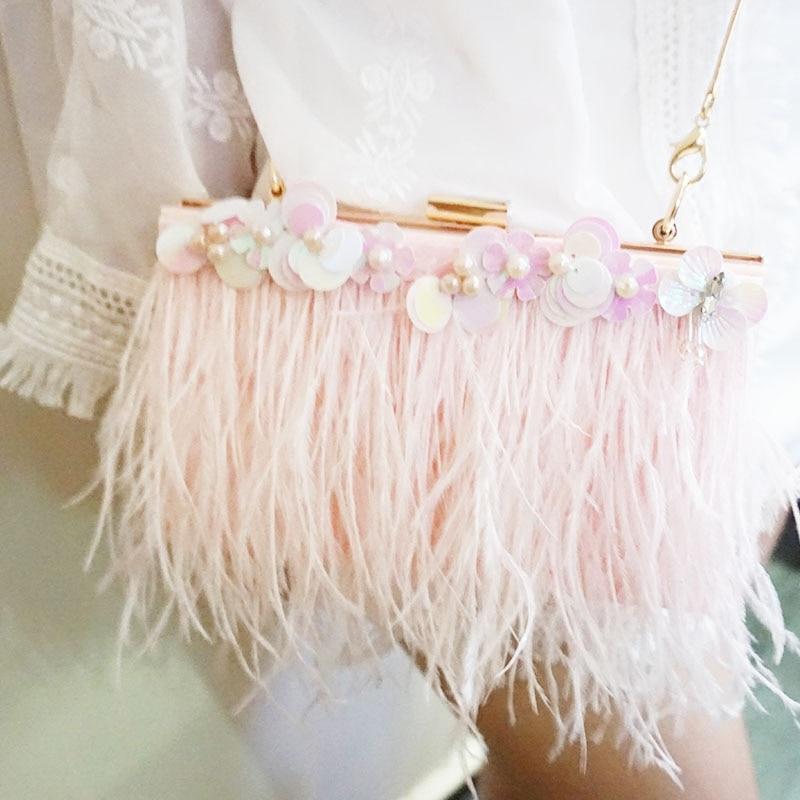 New women Feather Dinner Bag Sequin Flower Ostrich Hair Handbag Shoulder Skew Acrylic Bag Girl