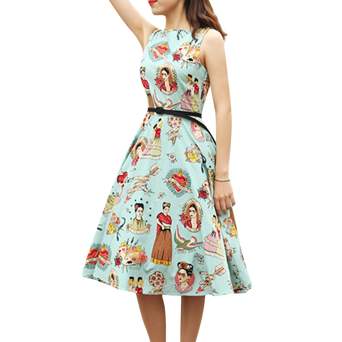 Women Frida Kahlo Sleeveless A-line Vintage Party Cocktail Swing Dress With Belt