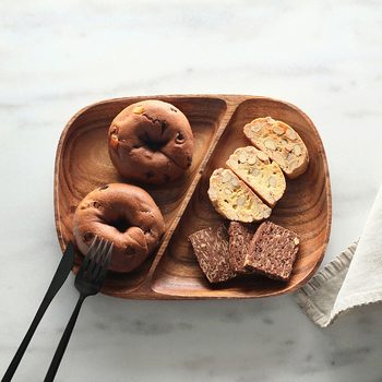 Wooden Breakfast Plate Japan Style Oval Shape 2 Slots Serving Trays Eco Natural Wood Snacks/Desserts Plate Tableware