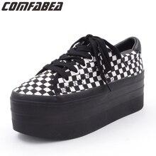 2020 봄 가을 여성 플랫폼 캐주얼 신발 여성 블랙 캔버스 신발 패션 레이싱 플랫 하단 하라주쿠 여성용 펑크 신발