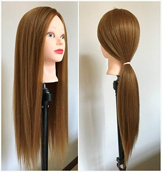 Cabeza de entrenamiento de maniquí CAMMITEVER con soporte maniquí cabeza de estilo para salón de peluquería Pelo de 60cm con cabeza de maniquí, peluquería, modelo de maniquí para mujer, cabeza de maniquí con pinza, peluca roja, pelo largo