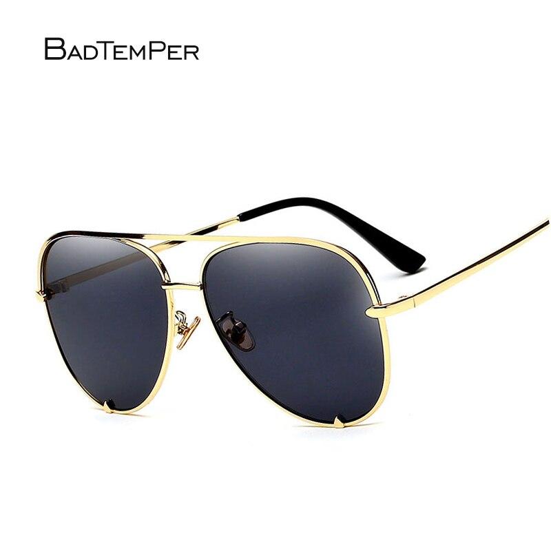 Badtemper 2018New Flat top metal frame Sunglasses women Fashion Design Mirror Pilot Sunglasses High-quality female sunglasses